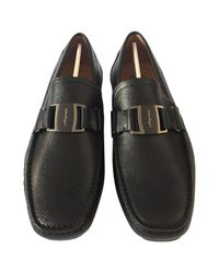 Ferragamo - Black Leather Flats for Men - Lyst
