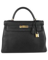Hermès - Black Pre-owned Kelly 32 Leather Handbag - Lyst