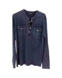 Balmain - Pre-owned Blue Cotton Knitwear & Sweatshirt for Men - Lyst