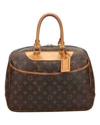 Louis Vuitton - Brown Pre-owned Deauville Cloth Handbag - Lyst