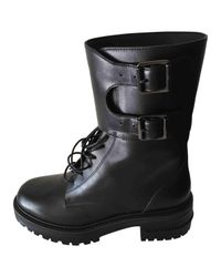 Dior - Black Leather Lace Up Boots for Men - Lyst