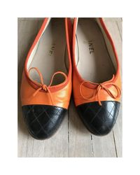 Chanel - Orange Pre-owned Leather Ballet Flats - Lyst
