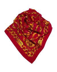 Chanel - Red Vintage Burgundy Silk Scarves - Lyst