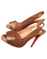 Christian Louboutin - Natural Pre-owned Leather Sandal - Lyst