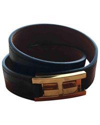 Hermès - Pre-owned Drag Double Tour Black Leather Bracelets - Lyst