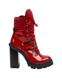 Moncler Red Patent Leather Boots