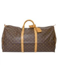 Louis Vuitton - Brown Pre-owned Keepall Cloth 48h Bag - Lyst