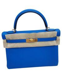 197c147f38 Lyst - Sac à main Kelly 32 en cuir Hermès en coloris Bleu