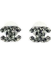 Chanel - Black Pre-owned Camélia Earrings - Lyst
