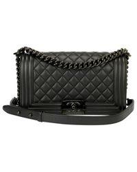 Chanel - Black Pre-owned Boy Leather Crossbody Bag - Lyst