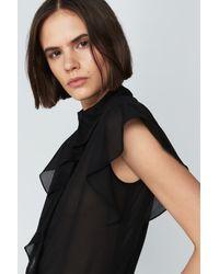 Victoria Beckham - Black Ruffle Front Shirt - Lyst