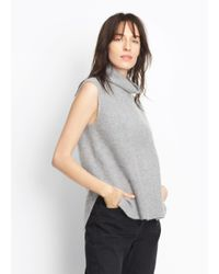 Vince - Gray Split Side Cashmere Turtleneck - Lyst