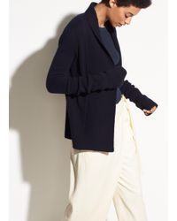 Vince - Blue Wide Collar Cashmere Cardigan - Lyst