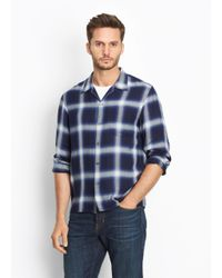 Vince - Blue Ombré Plaid Button Up for Men - Lyst