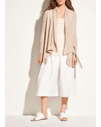 Vince - Gray Drape Front Wool And Cashmere Cardigan - Lyst