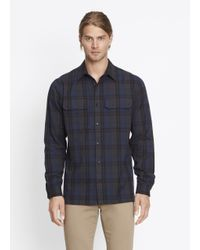 Vince | Blue Military Button Up for Men | Lyst