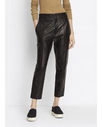 VINCE | Black Leather Carrot Shape Pant | Lyst