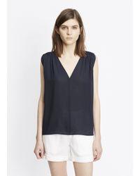 Vince - Blue Silk Sleeveless Shirred Shoulder Top - Lyst