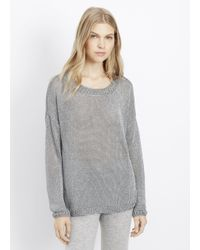 Vince - Gray Open-knit Cotton-blend Sweater - Lyst