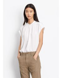 VINCE | White Silk Shirred Neck Blouse | Lyst