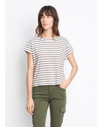 VINCE | Gray Striped Boxy Crew Neck Tee | Lyst
