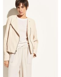 Vince - Natural Cross Front Leather Jacket - Lyst