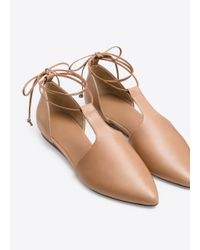 Vince - Natural Noella Leather Lace-up Flat - Lyst