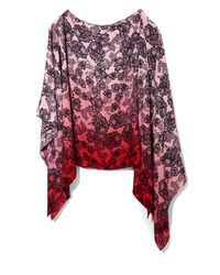 Vince Camuto | Red Lace-print Poncho Blouse | Lyst