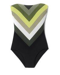 Vince Camuto | Black Chevron-striped One-piece Swimsuit | Lyst