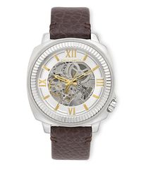 Vince Camuto | Metallic Exposed Automatic Leather Band Watch for Men | Lyst