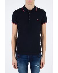 DIESEL - Black Patched Polo for Men - Lyst