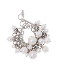 Lanvin - Metallic Bracelet With Glass Pearls - Lyst