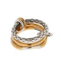 Bottega Veneta - Metallic Triple Ring - Lyst
