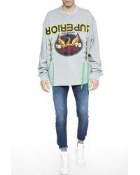DIESEL - Gray Fringed Sweatshirt for Men - Lyst