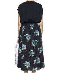 RED Valentino - Black Floral Bottom Dress - Lyst