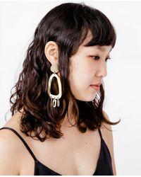 Modern Weaving - Multicolor Odd Oval Fringe Earrings - Lyst