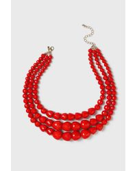 Wallis | Beaded Red Multirow Necklace | Lyst