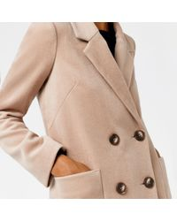 Warehouse - Natural Silk Mix Long Line Crombie - Lyst
