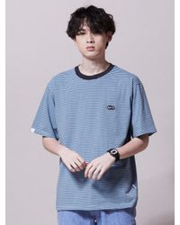 URBANDTYPE Oval Patch Stripe T-shirt Blue for men
