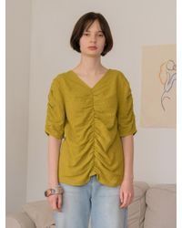 AMONG - Green A Shirring Blouse - Lyst