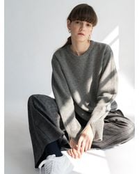 AEER - Gray Logo Embroidery Wool Cashmere Pull Over Stieglitz - Lyst