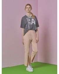ANOTHER A   Front Slit Jersey Pants Pink   Lyst