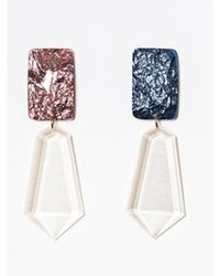 Blank - White Jewel Drop Earring - Lyst