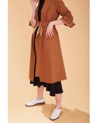 AHEIT Brown Flared Tropical Wool Coat Caramel