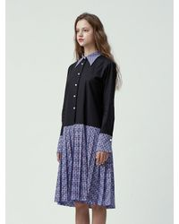 Fleamadonna - Blue Paiseley Pattern Matched Shirt Dress - Lyst
