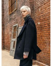 COLLABOTORY - Blue B7cma2001m Navy Half Pea Coat - Lyst