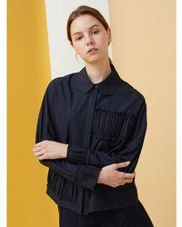 MILLOGREM - Blue Partial Shirring Shirts - Navy - Lyst