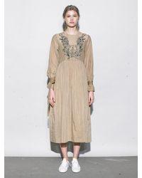 OUAHSOMMET - Natural Embroidery Silk Dress_bg - Lyst