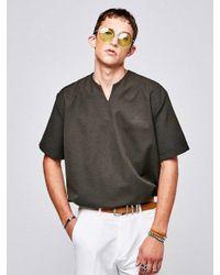 YAN13 - Multicolor V Neck Half Shirts Khaki for Men - Lyst