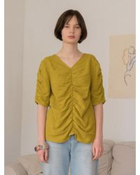 AMONG - Green A Shirring Blouse - Olive - Lyst